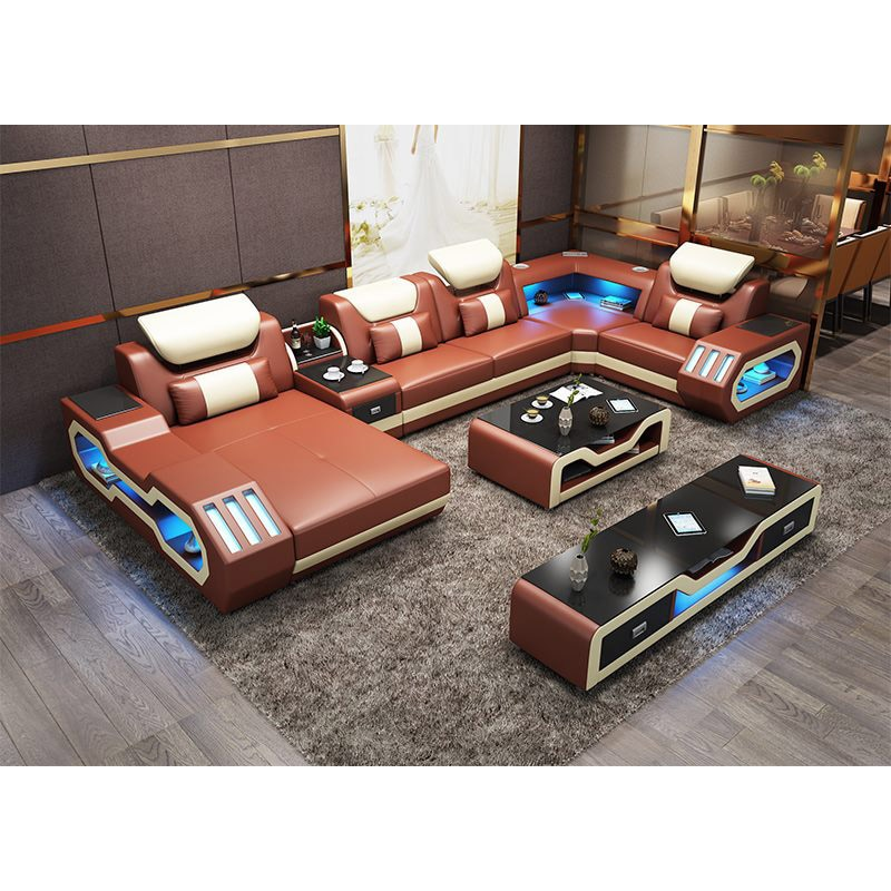 Led light music player USB combination living room sofa set top grain leather sofa chaise