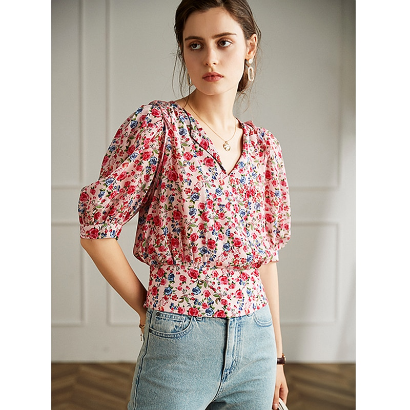 Blouse women casual style cotton silk blended plaid printed turn-down collar drop-shoulder long sleeves ladies new fashion