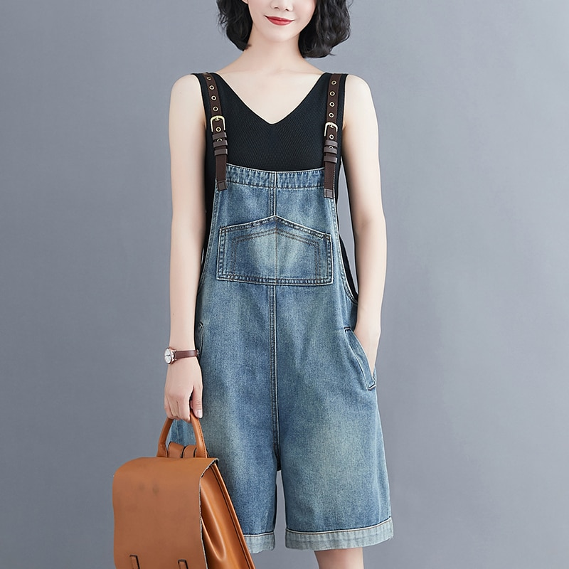 #1513 Denim Overalls Women Summer 2020 Korean Fashion Playsuit Jumpsuit Spaghetti Loose Plus Size Wide Leg Short