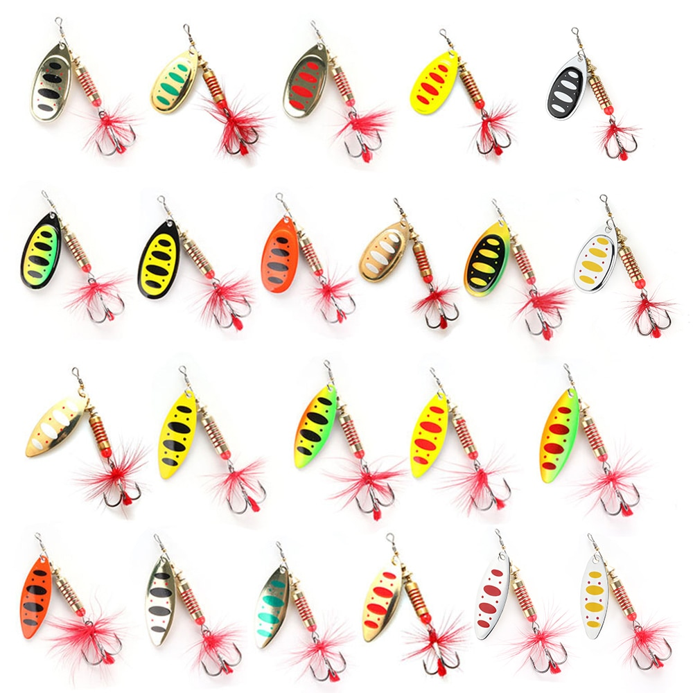 aliexpress.com - W.P.E New Spinner Lure Hard Bait 1pcs 6.5g/10g/13.5g Spoon Lure Metal Lure Feather Treble Hook Fishing Tackle Bass Fishing Pesca