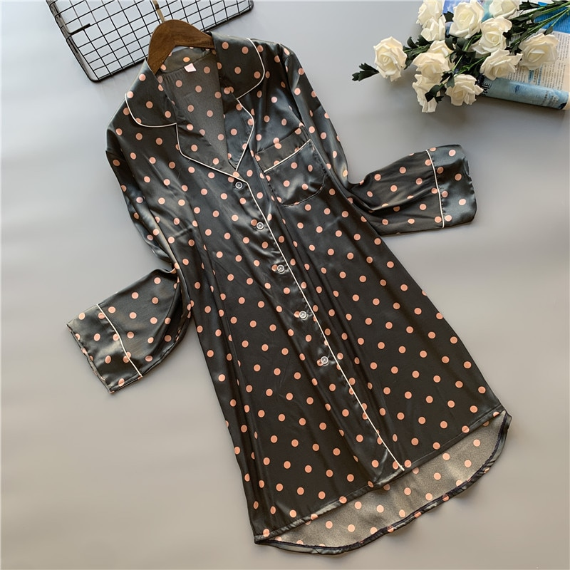 Camisola feminina bolinhas polka, camisola dormir cetim