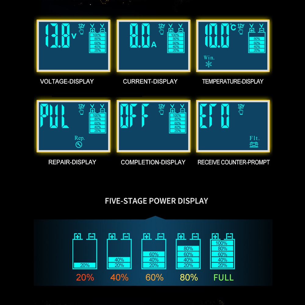 12/24V 8A Car Battery Charger Touch Screen Puls Repair LCD Fast Power Charging Wet Dry Lead Acid Digital LCD Display enlarge