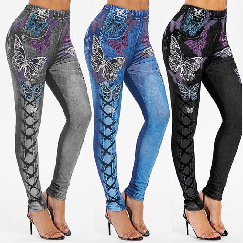 Женские 2021 имитация Проблемные лосины из джинсовой ткани свободного покроя с высокой талией узкие эластичные узкие брюки спортивные легин...