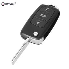 KEYYOU Replacement 3 Buttons Folding Flip Remote Shell Fob Car Key Case For VW Volkswagen Jetta Golf Passat Beetle Polo Bora