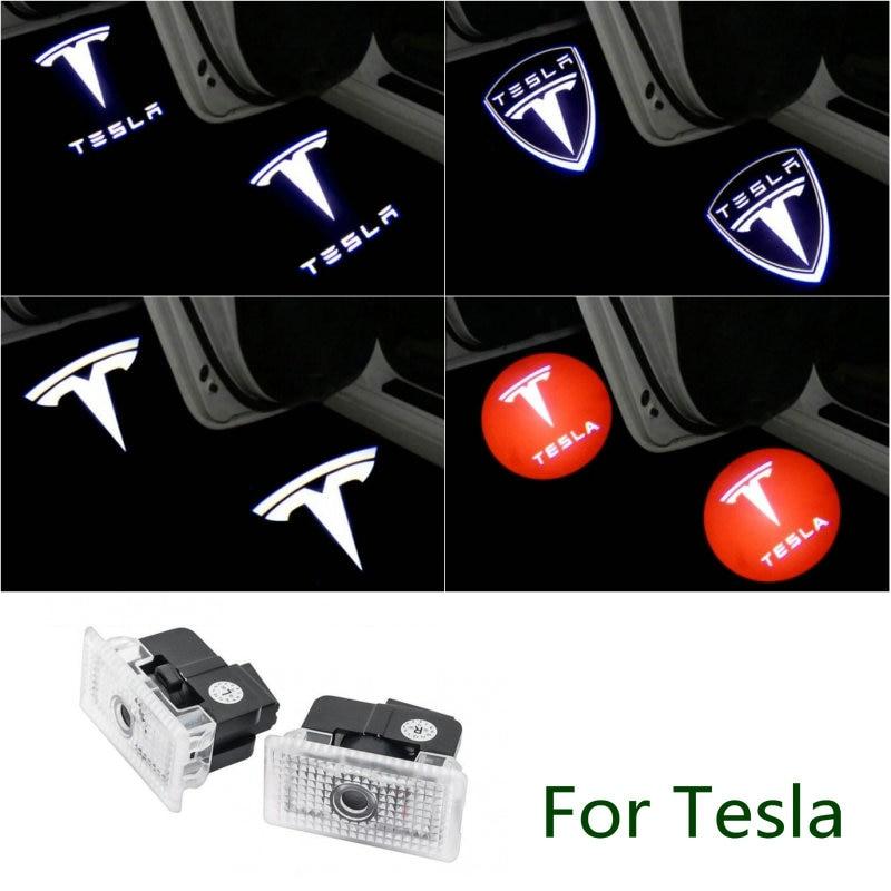 2 pçs carro led porta luz de boas-vindas logotipo projeção laser luz da porta para tesla modelo 3 modelo s x y tesla modelo 3 acessórios