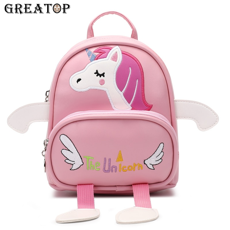 GREATOP 2021 3D Unicorn Children School Bag PU Leather Cute Girls Backpacks Fashion Cartoon Baby Kindergarten Mochila