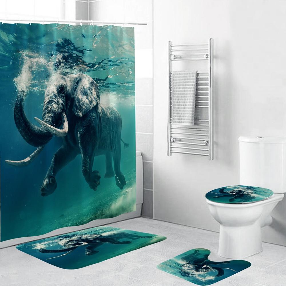 Elefante subaquático à prova dwaterproof água cortina de chuveiro 4 peça conjunto banheiro tapete capa toalete tapete banho almofada tecido durável