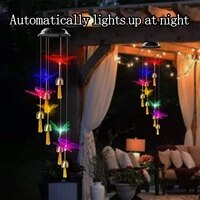 waterproof solar led color changing butterfly hummingbird wind chimes for outdoor garden decor lawn hanging light wind chimes