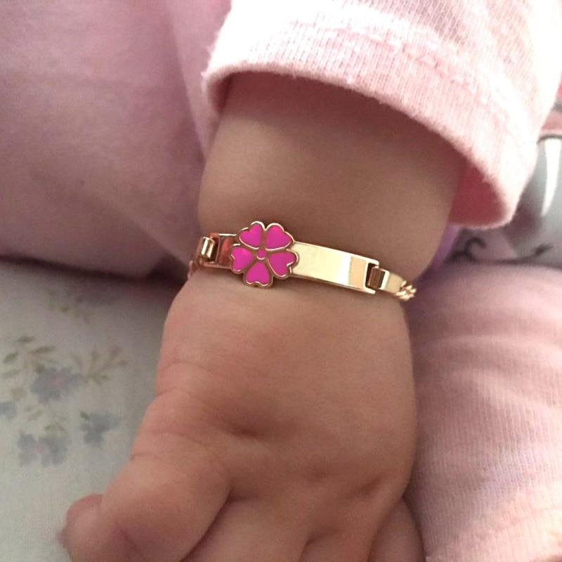 Pink Heart Bracelets for Little Baby Girl Bracelet Kids Jewelry Christmas Gift Baptism Armband Gold Pulsera Bebe Pulceras B0929