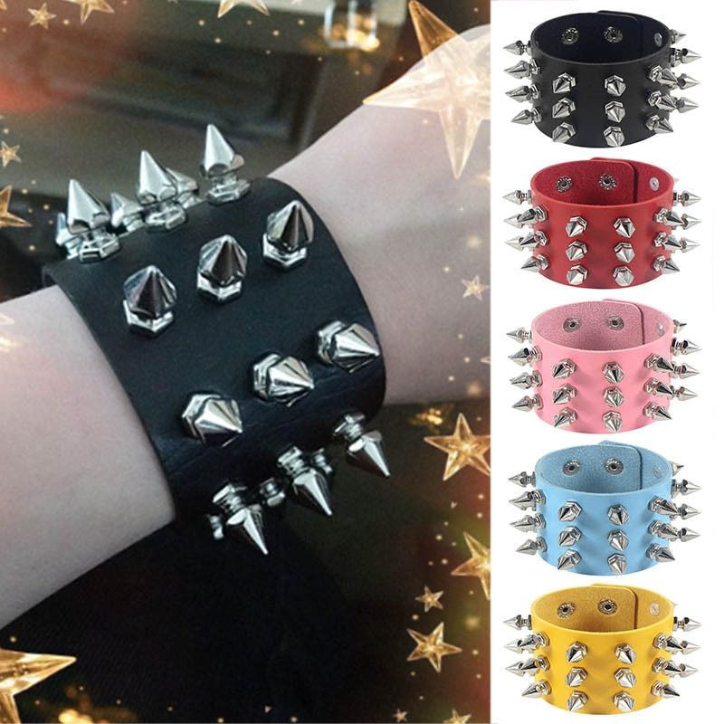 Harajuku Punk Rock Non-mainstream Exaggerated Bangle Tapered Point Rivet Three Rows PU Leather Bracelet Bracelet Bracelet decompression anion pu leather non allergy bracelet silver black coppery