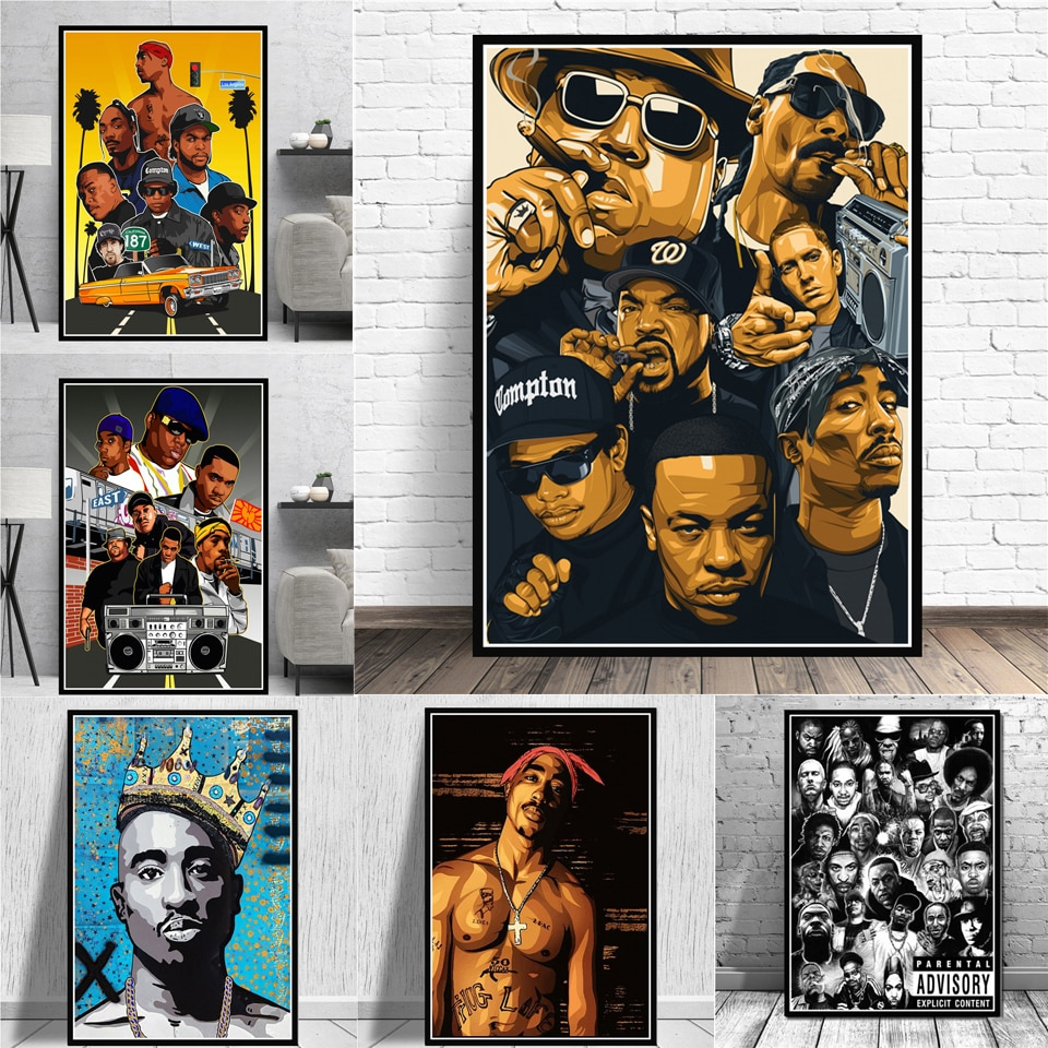 Moderne Mode West Hip Hop Rap Star Posters Oude School 2PAC Biggie Smalls Prints Canvas Schilderij Wall Art Pictures Home decor