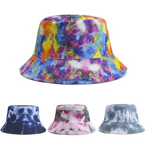 New Tie-Dye Print Hat Female  Fisherman Hat Student Couple Bucket Hat Summer Sun Visor Tide