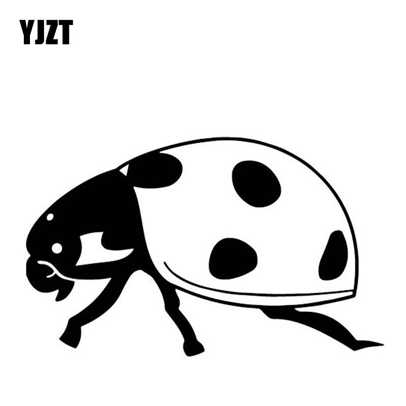 YJZT 15,2 CM * 9,3 CM mariquita vinilo calcomanía patrón coche pegatina parachoques Decoración Accesorios negro/plata C4-2392