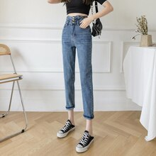 Autumn 2021 Daddy Jeans Women High Waist Petite Stretch Slimming and Straight Loose Tappered Harem P