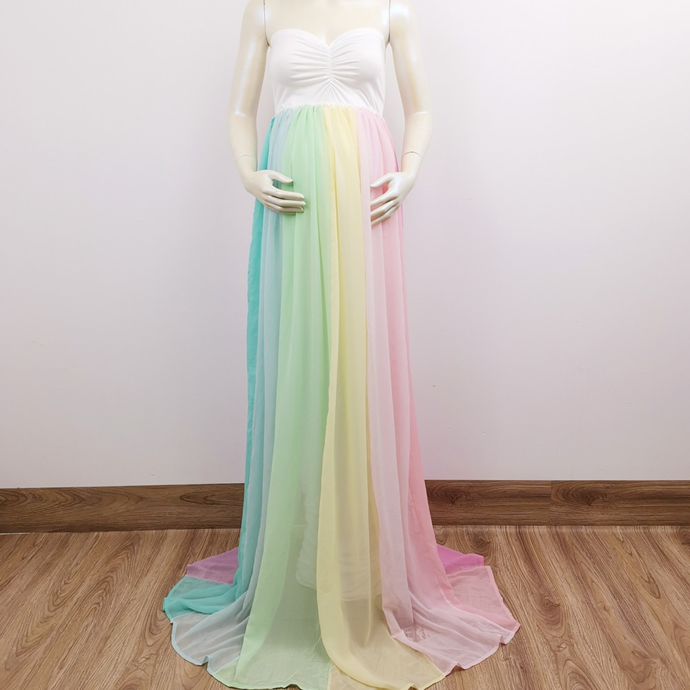 Photo Shoot Stretch Soft Maxi Long Boob Tube Dress Rainbow Pregnant Gown for Maternity Photography Prop Baby Shower Gift enlarge