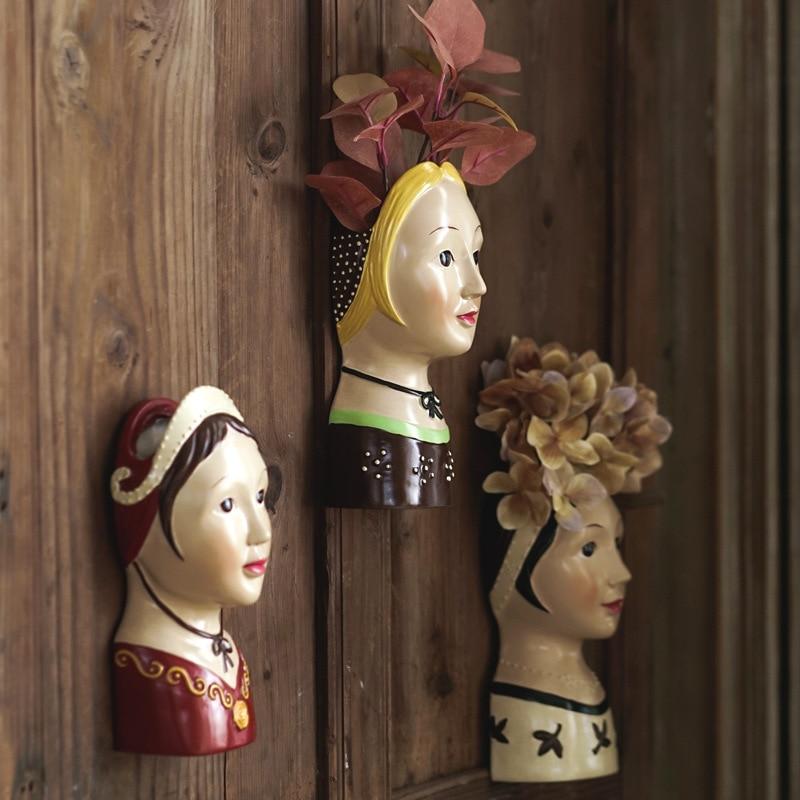 Jarrón de muñeca rusa pintado a mano para colgar en la pared florero decorativo de pared maceta de resina para decoración de la pared del hogar regalo de boda único