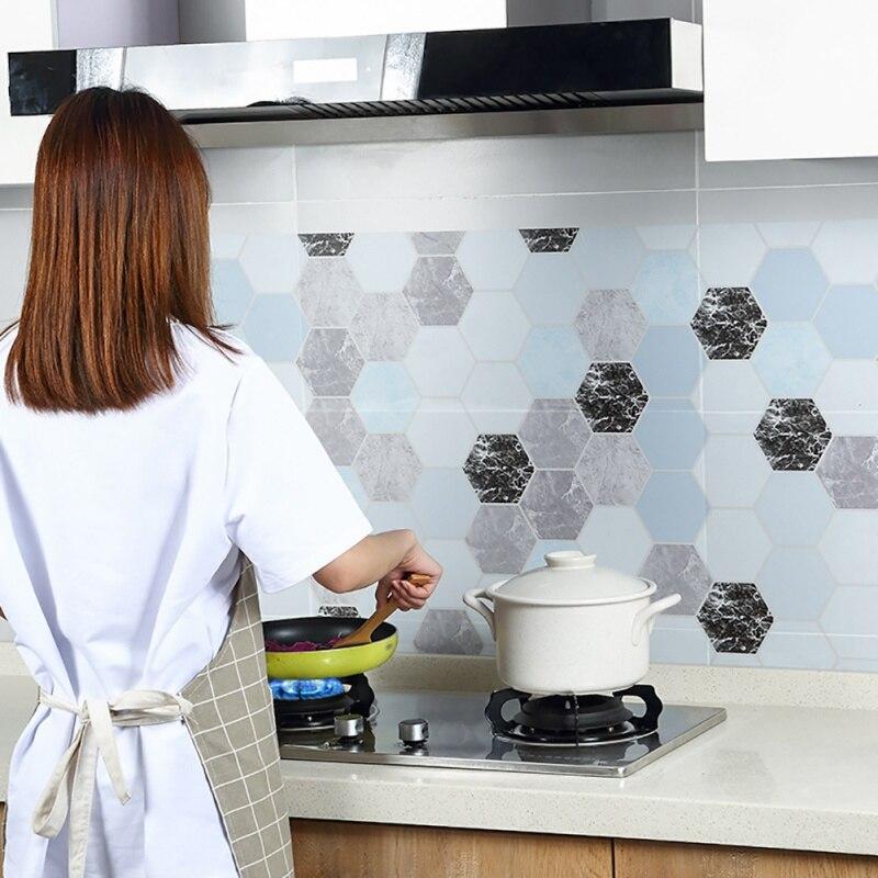 Pegatinas de ladrillo hexagonal resistentes a altas temperaturas para cocina pegatinas de aceite autoadhesivas pegatinas de pared impermeables para baño en casa