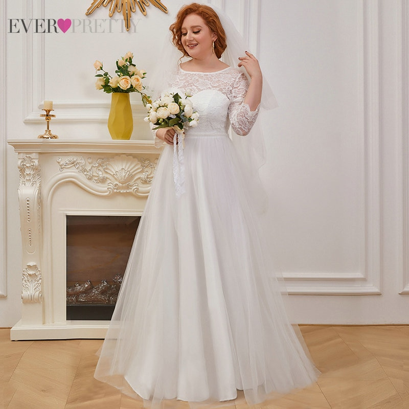 Lace Wedding Dresses Plus Size Women A Line O-neck Beading Elegant Wedding Party Dress Bridal Gown EH00229 Свадебное Платье 2021