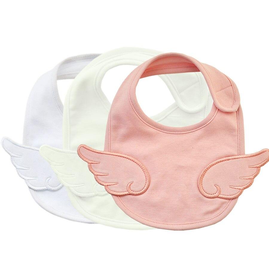Angel Wings Bib For Newborn Baby Drooling Saliva Towel Cotton Burpcloths Pink White Japanese Style Baby Stuff
