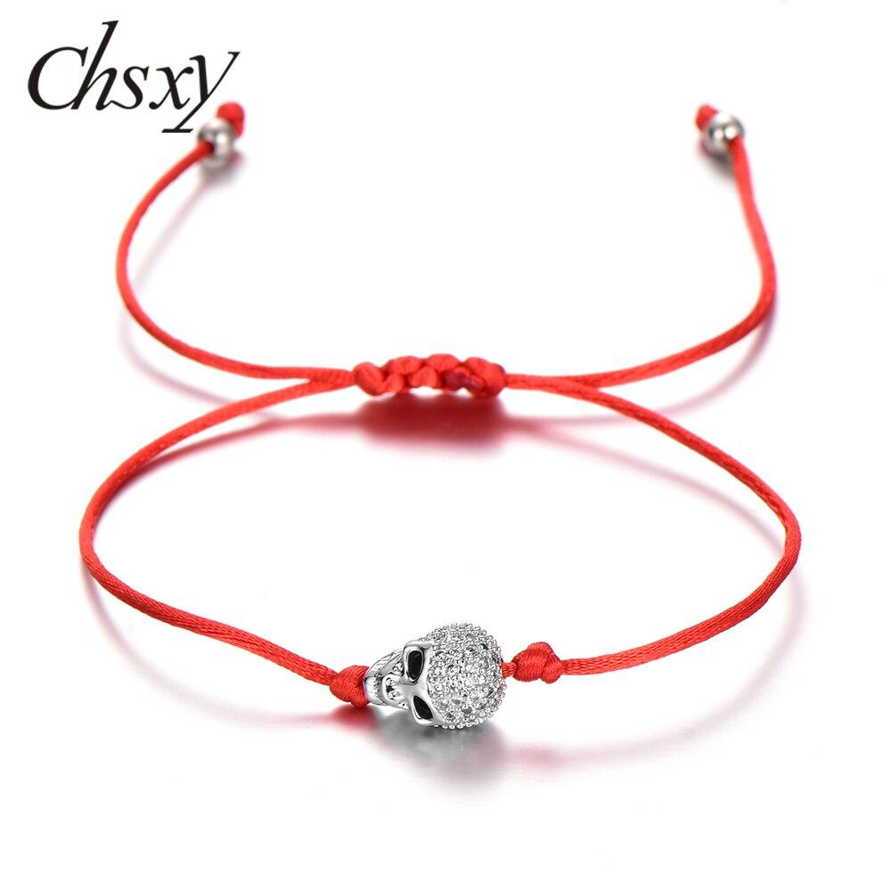 Chsxy moda zircão crânio cabeça pulseira feito à mão trançado macrame ajustável corda vermelha pulseiras para mulher jóias masculinas