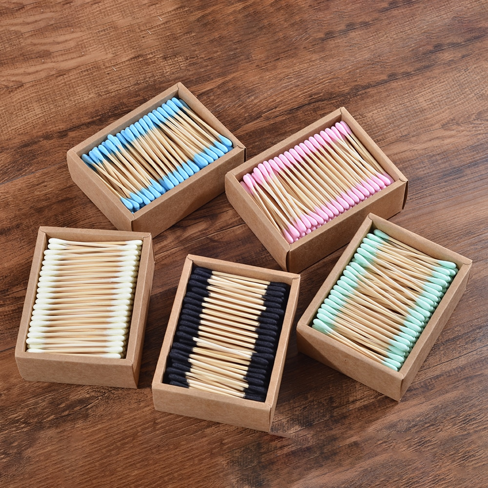 Eco Friendly 2000Pcs Color Mix Double Head Bamboo Cotton Buds Adults Makeup Cotton Swab Wood Sticks Nose Ears Cleaning Tool