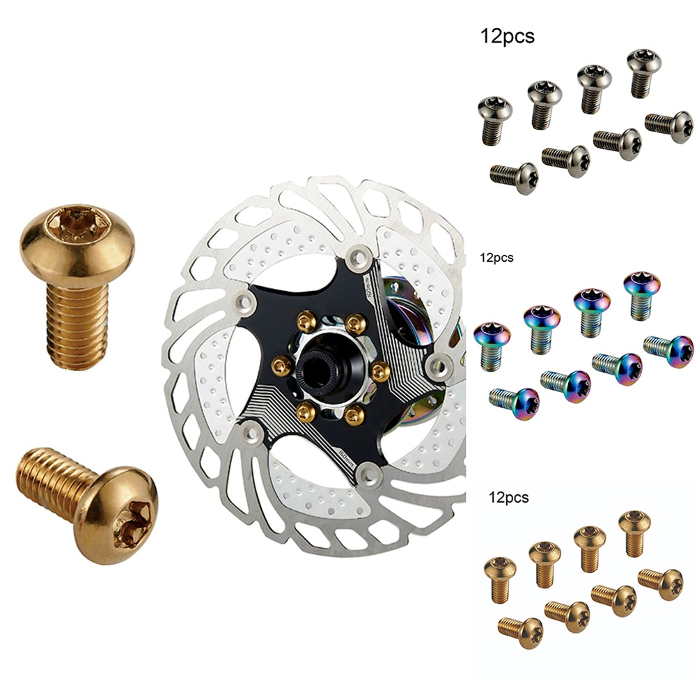 Rotores de freno de disco de bicicleta, 12 Uds., tornillos de titanio M5x10mm, rotores de disco para bicicleta de montaña
