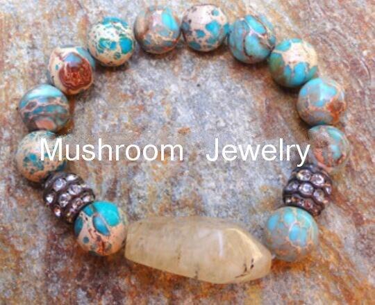 Drop Shipping Handmade metal rhinestone Stone Nugget charms for bracelets Women Natural Stone elastic bracelet Healing Bracelet