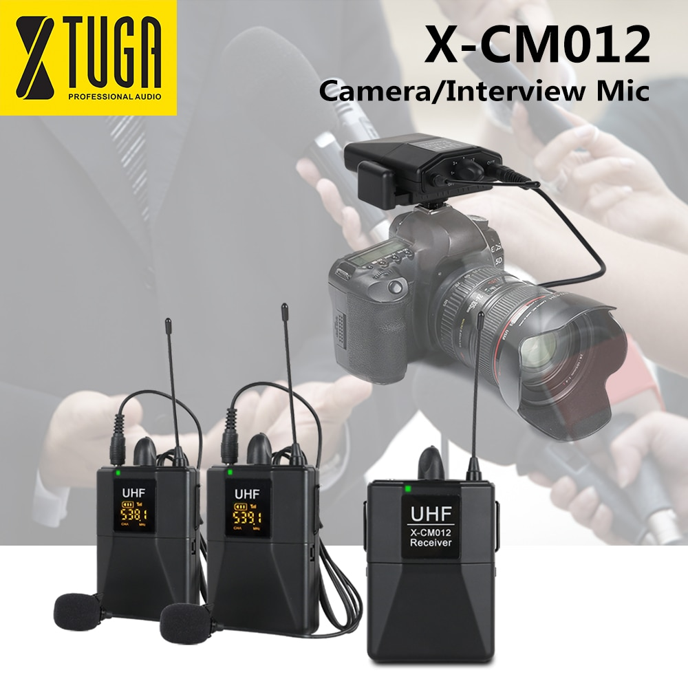 XTUGA X-CM012 UHF المزدوج اللاسلكية Lavalier ميكروفون ، كاميرا Mic ، UHF التلبيب Mic نظام مع 16 قناة للاختيار يصل إلى 164ft المدى