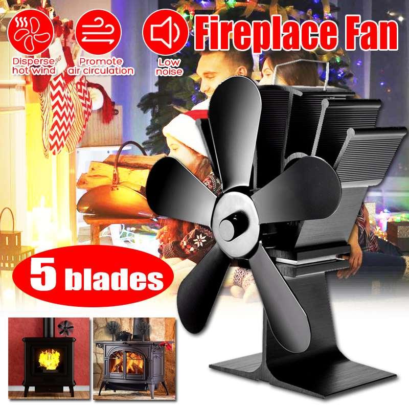 Fireplace 5 Blade Heat Powered Stove Fan komin Heater Wood Burner Winter Eco Friendly Quiet Fan Home Efficient Heat Distribution