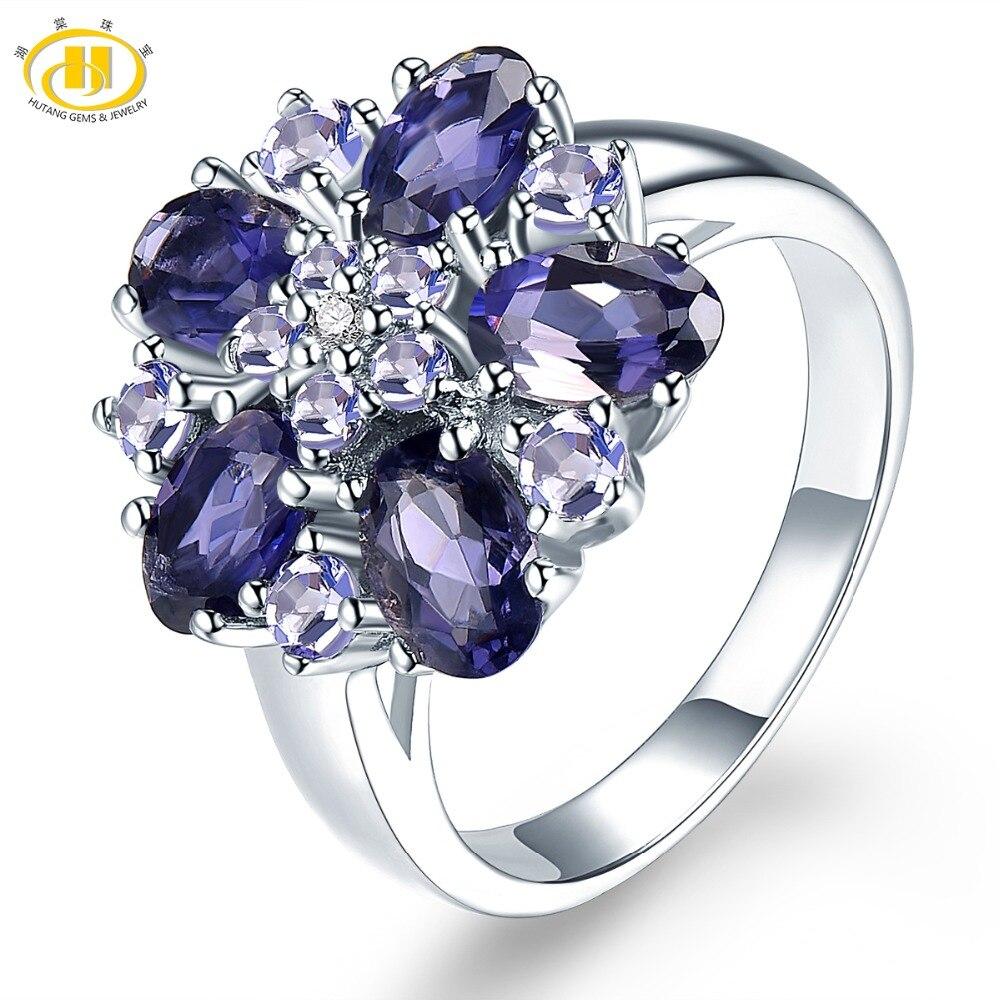 HUTANG-خاتم زواج من الفضة الإسترليني والتنزانيت ، خاتم ، 925 فضة استرلينية ، أحجار كريمة طبيعية ، مجوهرات راقية وأنيقة ، هدية للنساء