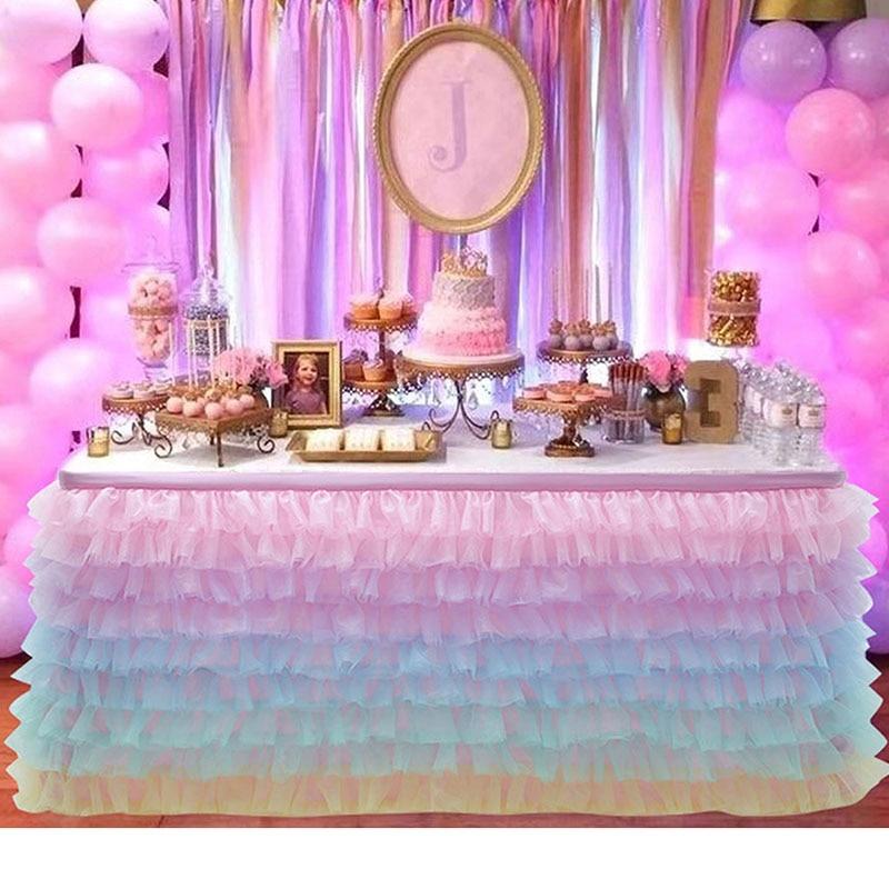 تنورة طاولة من التول مع توتو بألوان قوس قزح ، زينة لأعياد الميلاد الأولى ، مفرش طاولة ، للزفاف ، زهري ، 27 × 77 سم
