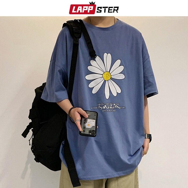 LAPPSTER Men Summer Dirty Flower Harajuku T-shirts 2020 Man Casual Japanese Streetwear White Tshirts Male Korean Cotton Clothing