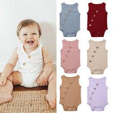 2019 Summer Romper for baby Boys Girls Rompers Solid Colors Jumpsuit Cotton V-neck Sleeveless Knitte