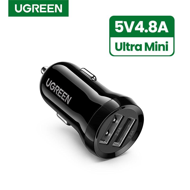 Мини USB Автомобильное зарядное устройство Ugreen, мобильный телефон, планшет, gps, 4.8A быстрое зарядное устройство, автомобильное зарядное устройство, двойной USB автомобильный адаптер зарядного устройства для телефона в автомобиле