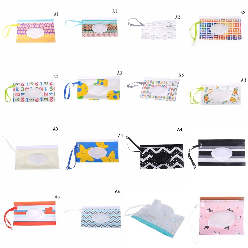 30Styles Clutch and Clean Wipes Carrying Case Eco-friendly Wet Wipes Bag Cosmetic Pouch Easy-carry S