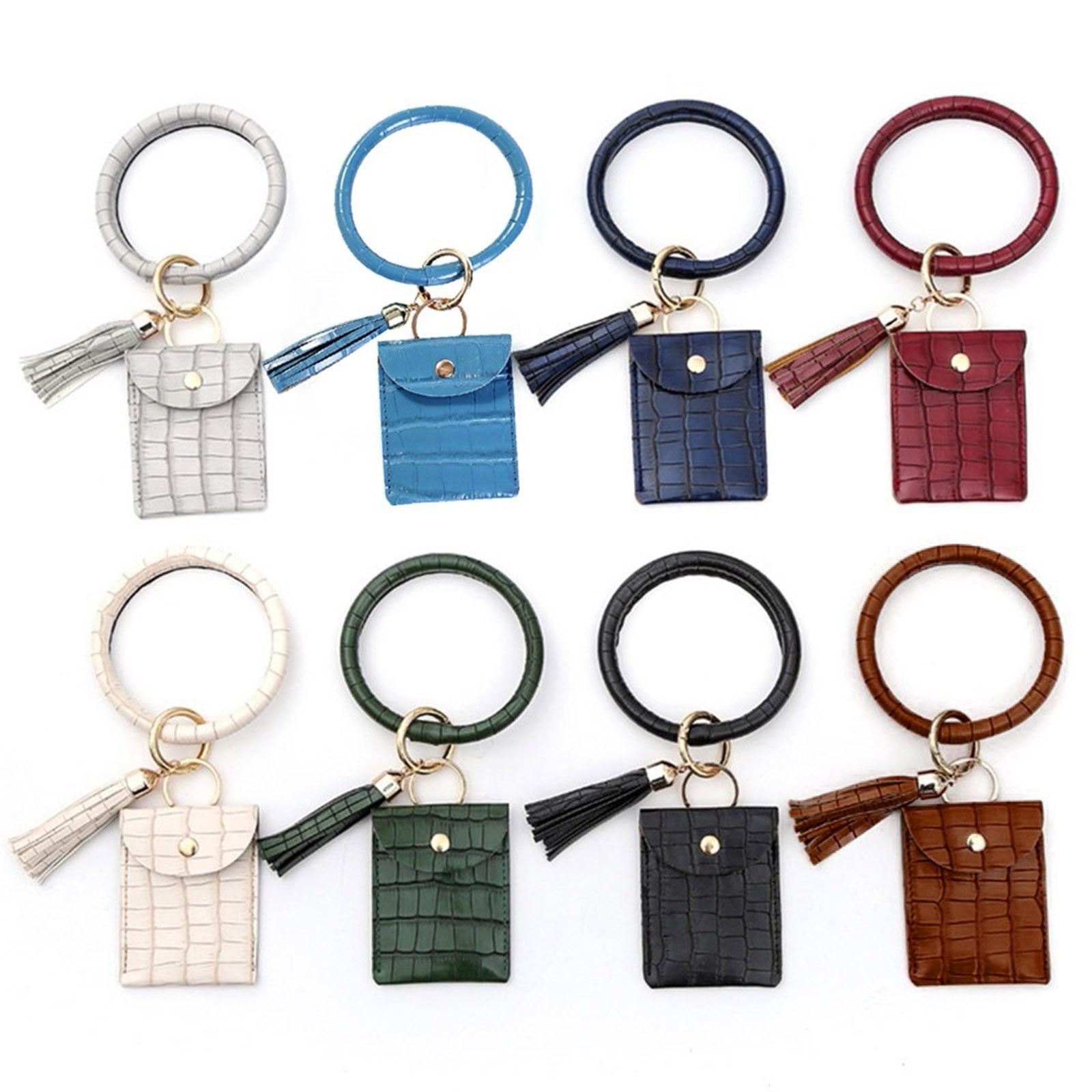 2021 große Armband Keychain Karte Halter Quaste Armreif Schlüssel Ring Wristban Mit Brieftasche Karte Feste Farbe Id Halter Bolsa