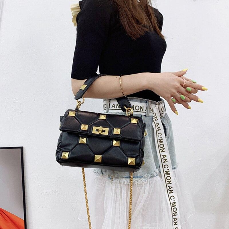 Luxury Brand Women Bags Soft PU Leather Rivet Design Tote Handbags High Quality Shoulder Messenger B