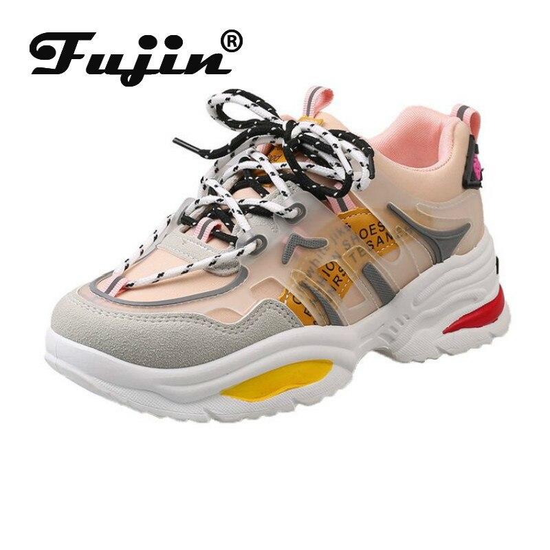 Fujin zapatillas de mujer 2020 zapatos gruesos de Moda de Primavera plataforma de colores mezclados transpirables de fondo grueso casual zapatos de mujer poco profunda