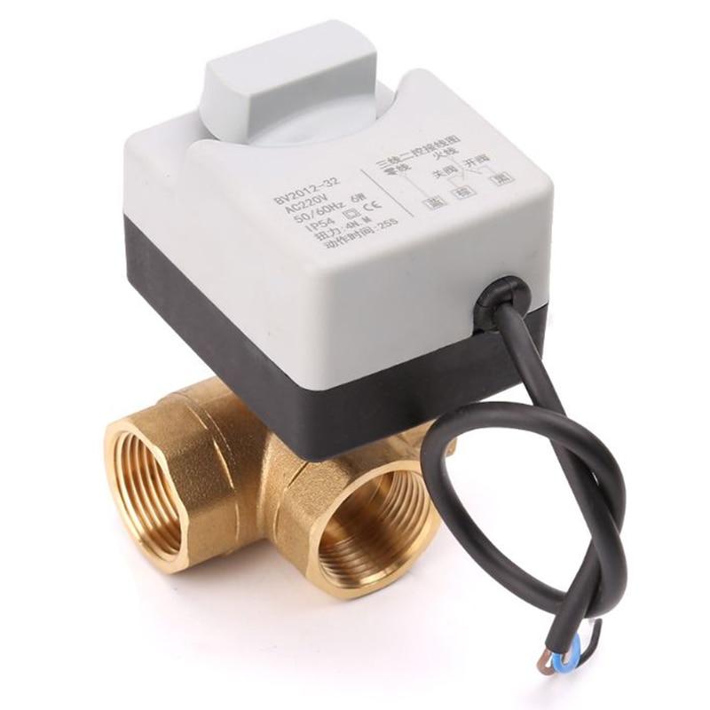 Ac220V Dn25 3-Way صمام كروي مزود بمحرك ثلاثي الأسلاك اثنين من التحكم في تكييف الهواء المحرك الكهربائي الكرة صمام