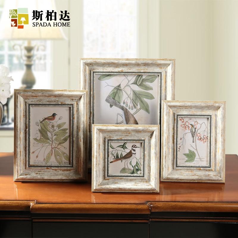 Retro Photo Frame Vintage Photo Frames for Picture Square 4/6/7/10 Inch Creative Picture Frame Combination Quadros Decorativos
