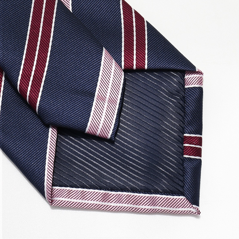 High Quality 2020 Designer New Fashion Pink Red Striped Navy Blue 8cm Ties for Men Necktie Business Formal Suit with Gift Box
