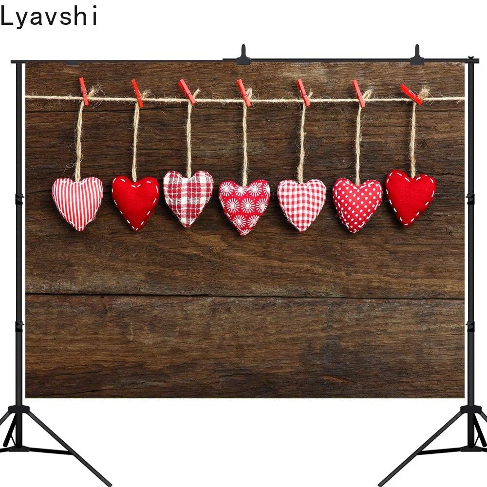 Placa de Madeira Fotográfico para Estúdio Dia dos Namorados Lyavshi Amor Coração Fotografia Fundo Personalizado