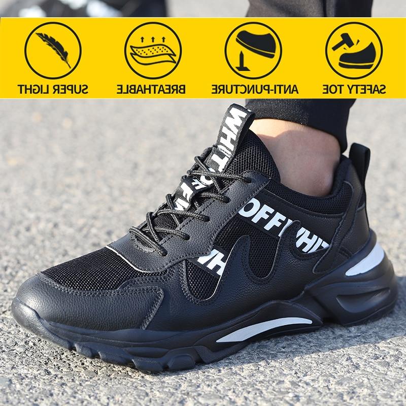الرجال حذاء امن للعمل الصلب تو مكافحة تحطيم ارتداء سقف لينة ضوء مريحة غير قابل للتدمير أحذية واقية حذاء رياضة
