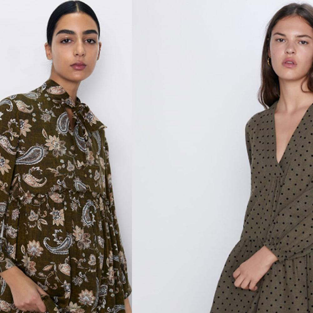 Vestido a la moda para mujer 2019 ZA nuevo Otoño e Invierno vestido estampado con moño de manga larga estilo Simia de Cuello medio vestido de fiesta de regalo