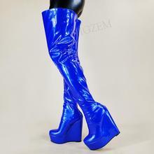 LAIGZEM – cuissardes hautes pour femmes, bottes à semelles compensées à fermeture éclair complète, au-dessus du genou, brillantes, imperméables, grande taille 44 50 52, 2021