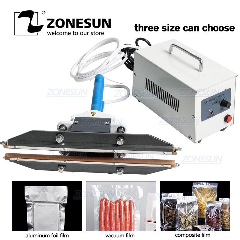 ZONESUN, 300mm, alicates instantáneos calientes, máquina portátil de sellado por impulso para sellado de aluminio al vacío, máscara de Película compuesta, Envasado de aperitivos