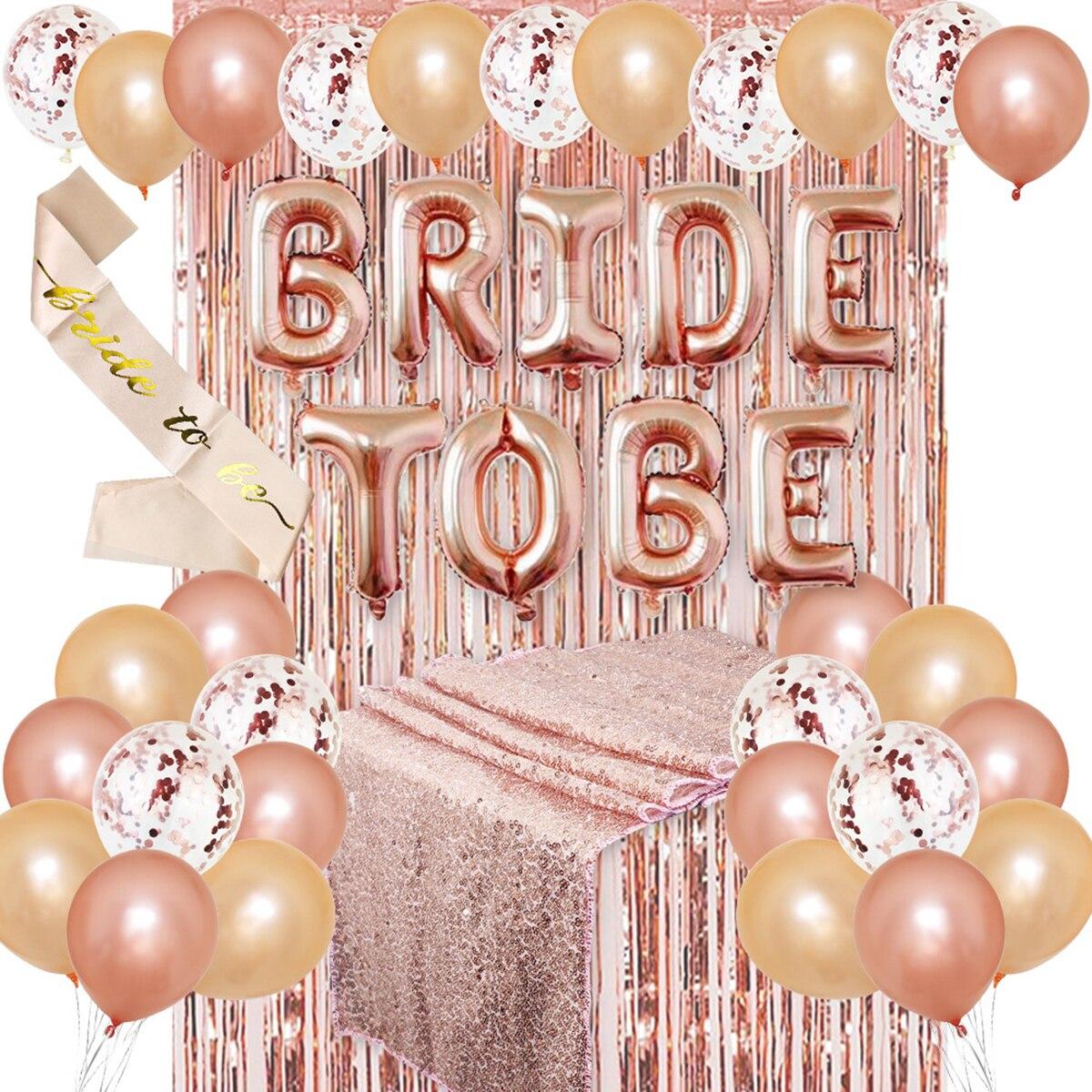 Oro rosa decoración para fiesta de despedida de soltera Kit de suministros ducha Novia a ser marco globos de tela de cortina