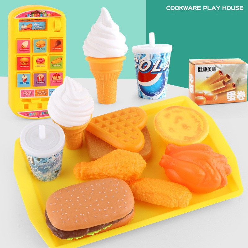 15Pcs/set Play House Kitchen Pretend Play Toy Simulation Hamburger Chicken Leg Model Food Set Educational Toys for Children недорого