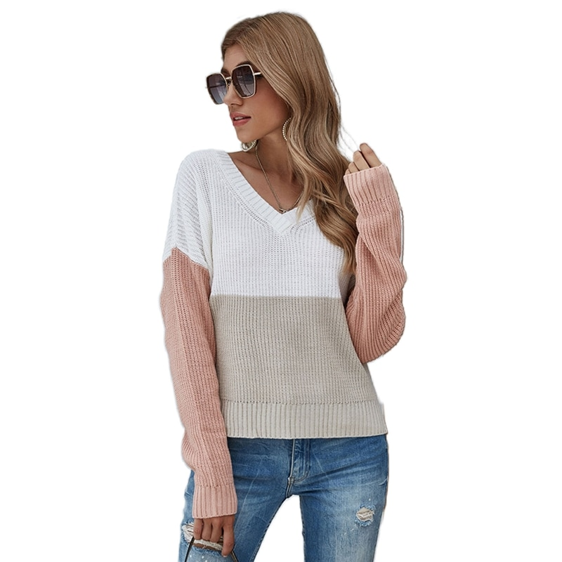 Women Long Sleeve V-Neck Sweater Color Block Ribbed Trim Jumper Tops Knitwear enlarge