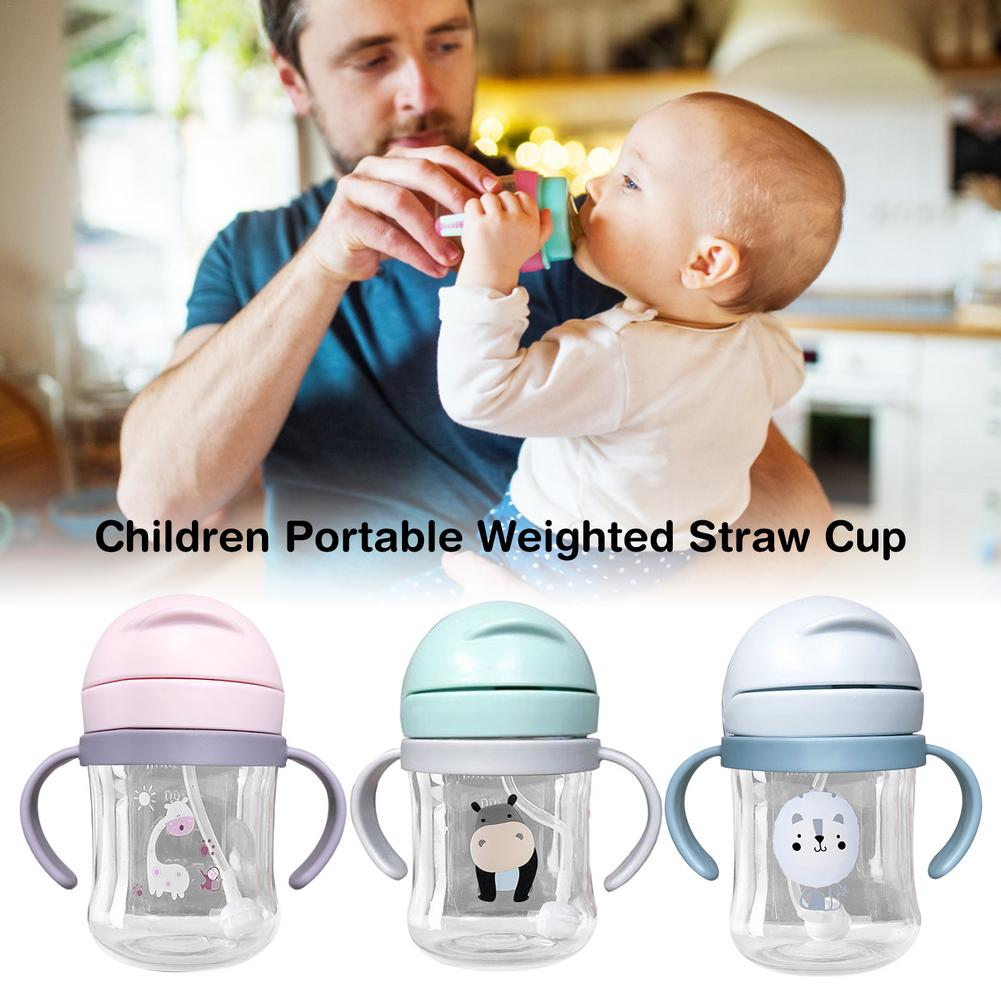 baby straw cup printed anti suffocation handle Baby Cares Sippy Cup Print Anti-choked Handle&Sling Feeding Drinker Children Newborn Weighted Straw Cup Leakproof Water Bottle